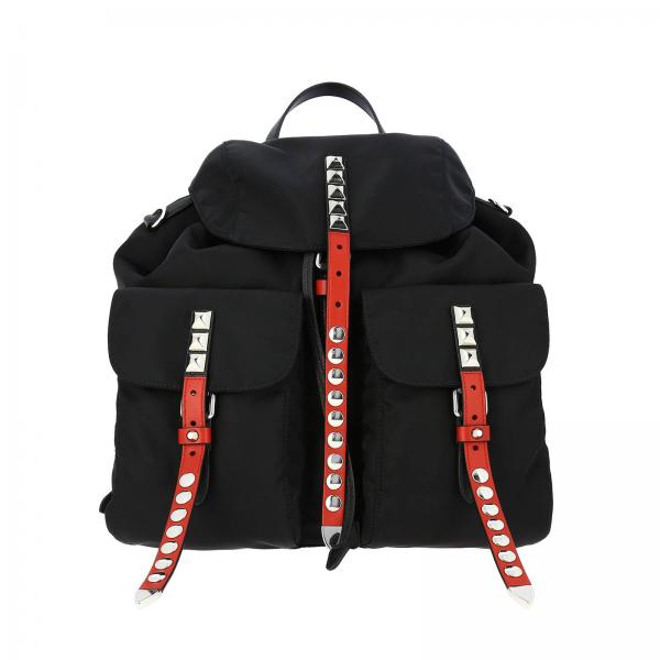 New Vela Prada backpack in nylon with big leather buckle and metal studs