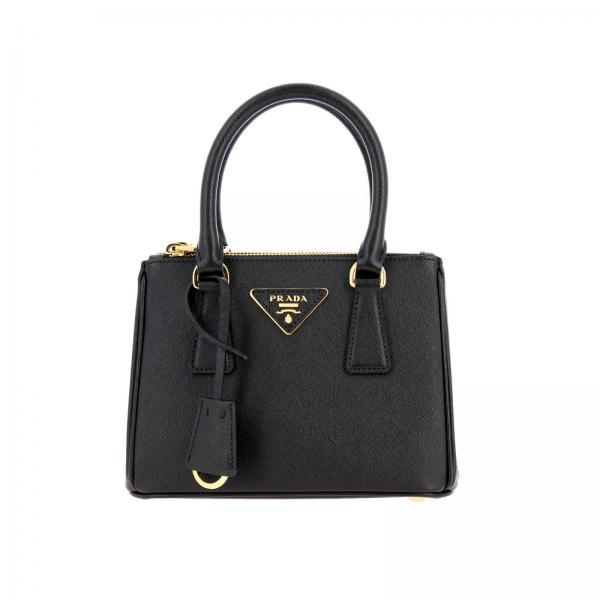 Mini Galleria Bag In Saffiano Leather With Prada Triangular Logo by Prada