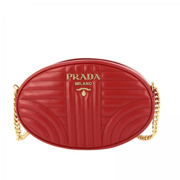 Diagramme small oval bag in quilted genuine soft leather with Prada metallic logo