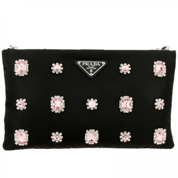 Prada clutch bag in nylon with strass and precious stones