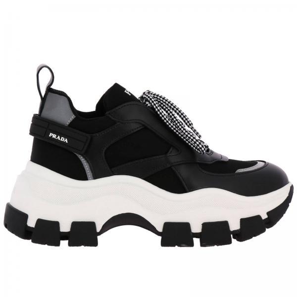 Sneakers Super wedgy Prada stringate in nylon e pelle con maxi suola