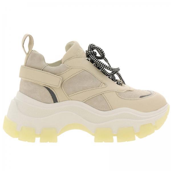 Sneakers Super wedgy stringata in camoscio e tessuto riflettente con logo Prada