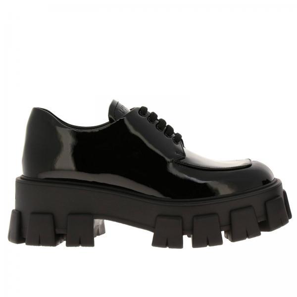Prada 漆皮系带德比鞋