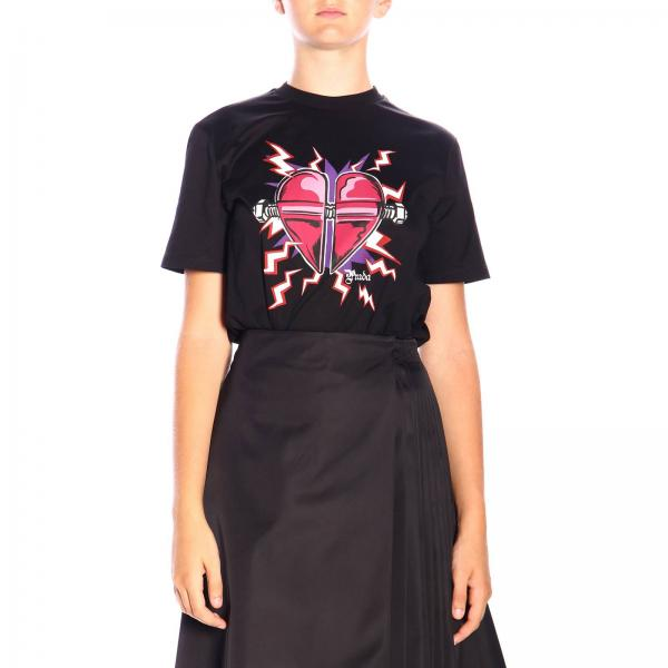 T-shirt Prada in jersey con stampa Heart