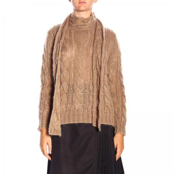Prada turtleneck pullover in braided mohair wool with bow