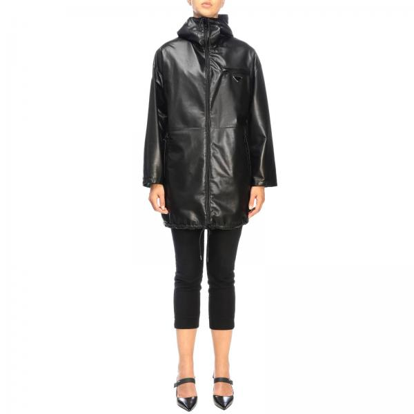Prada medium jacket in leather and reversible nylon with hood and triangular logo