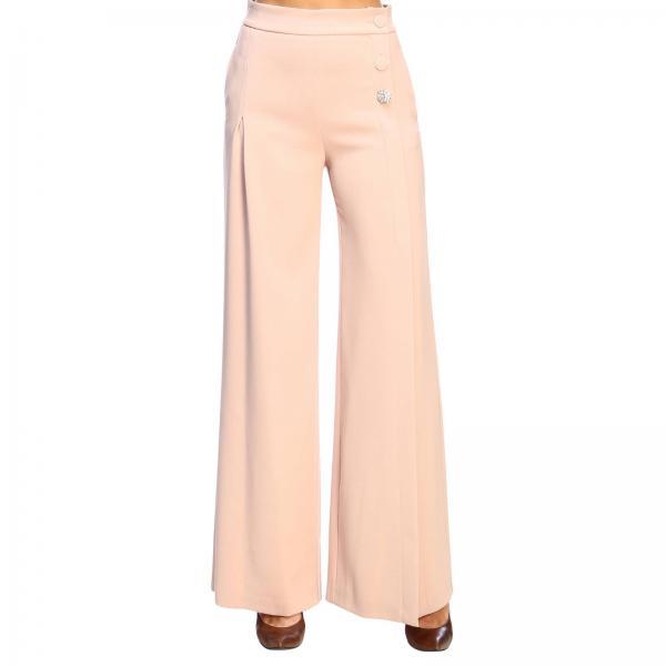 Pantalon Stare Pinko à taille haute en crêpe avec boutons bijoux