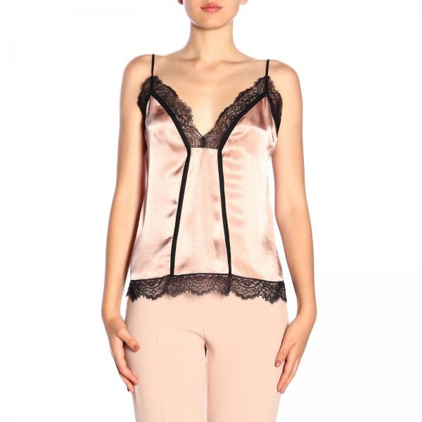 Soffiare Pinko top in lingerie-style with lace hem
