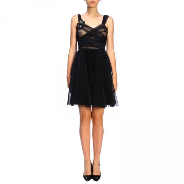 Pinko Rivalutare dress in tulle with sequin brooch