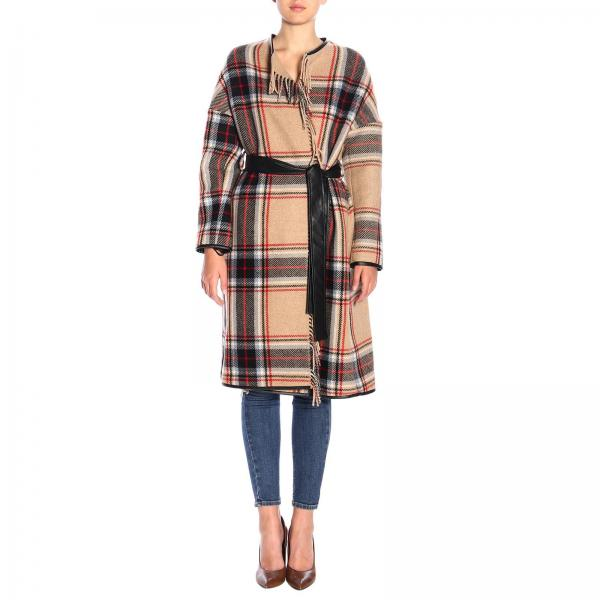 Coat pinko riannodare check coat in wool with fringes and belt Pinko - Giglio.com