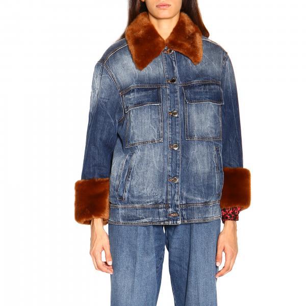 Джинсовая куртка Emma 1 Pinko с деталями из эко-меха и съемным воротником