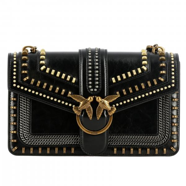 Pinko Mix Studs love leather bag