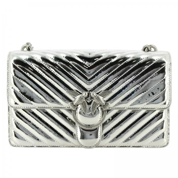 Pinko Love Quilting 2 mirrored chevron synthetic leather bag