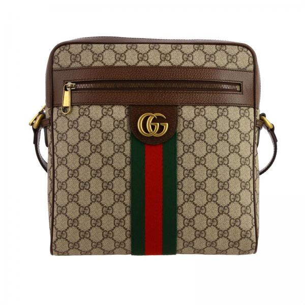 Ophidia shoulder bag in GG Supreme Gucci leather with Web band