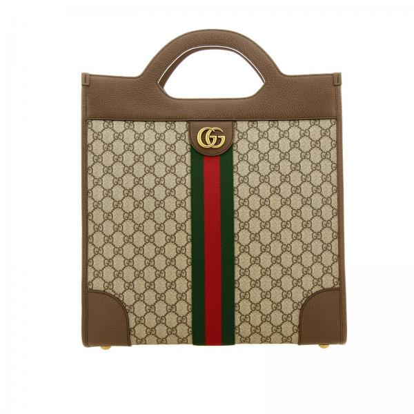 Ophidia medium handbag in GG Supreme Gucci fabric with monogram and Web band