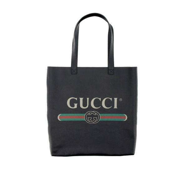 Sac Gucci shopping en cuir grainé avec impression vintage