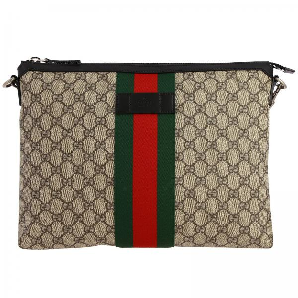 Gucci Supreme leather shoulder bag with Web band