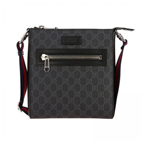 GG Supreme Gucci leather bag with Web shoulder strap