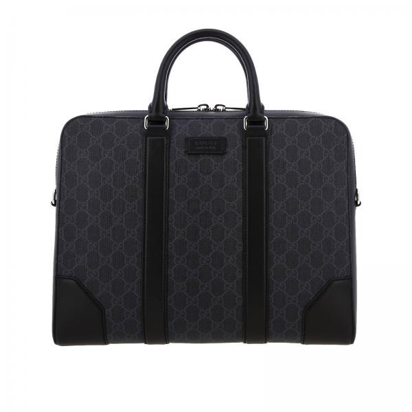 Borsa da lavoro Gucci GG Supreme con tracolla Web