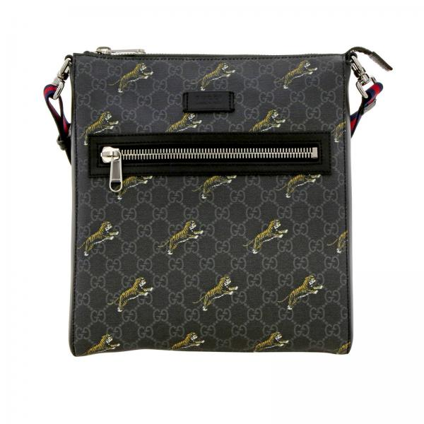 Leather bag with all-over tiger print and GG Gucci monogram