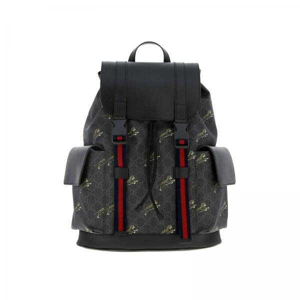 Gucci backpack in smooth leather and GG Supreme leather with all over tiger print