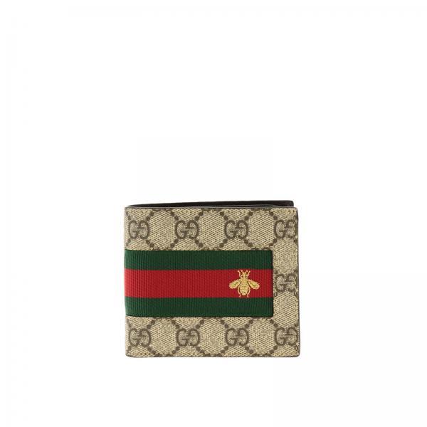 Gucci New web GG Supreme印花蜜蜂刺绣钱包