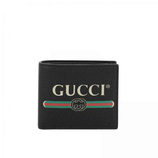 Portafoglio Print Gucci a libro orizzontale in pelle martellata con stampa vintage