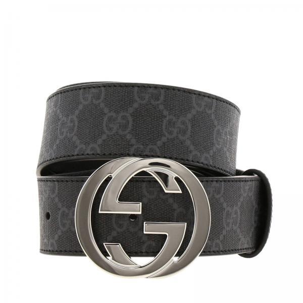 Cintura in pelle GG Supreme Gucci con fibbia interlocking