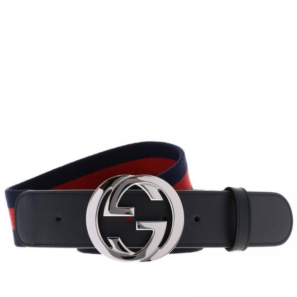 Cintura interlocking Gucci in pelle e tela Web