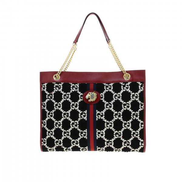 Borsa Rajah Gucci large shopping bag in tweed con fascia Web e tigre di cristalli