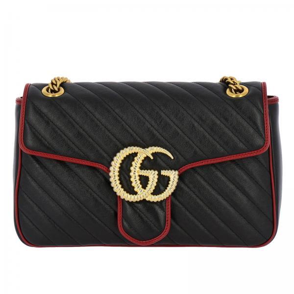 Borsa GG Marmont Gucci media in pelle trapuntata con motivo chevron e piping