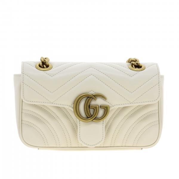 Borsa GG Marmont Gucci media in pelle trapuntata con motivo chevron