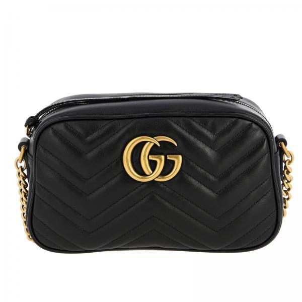 Borsa GG Marmont Gucci camera bag in vera pelle con trapuntato chevron