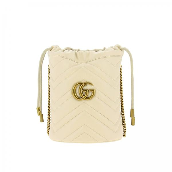 GG Marmont Gucci bucket leather bag with quilted chevron