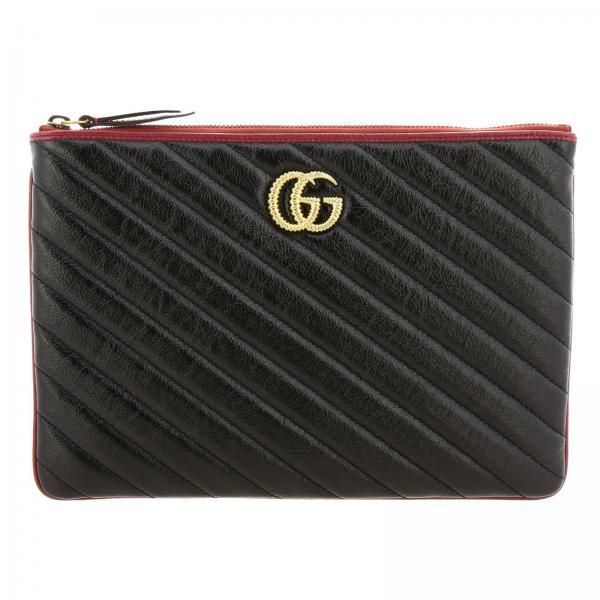 Pochette GG Marmont Gucci in pelle trapuntata con bordi a contrasto