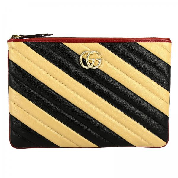 GG Marmont Gucci bicolor quilted leather clutch bag with contrasting edges