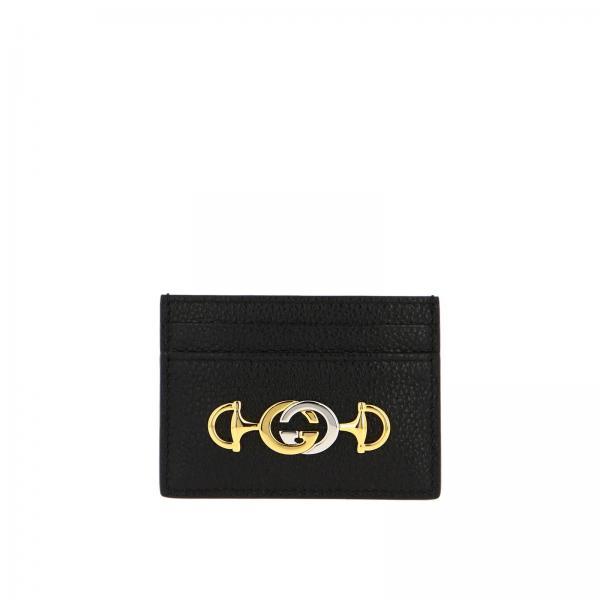 Porta carte di credito in pelle martellata con monogramma Gucci bicolor