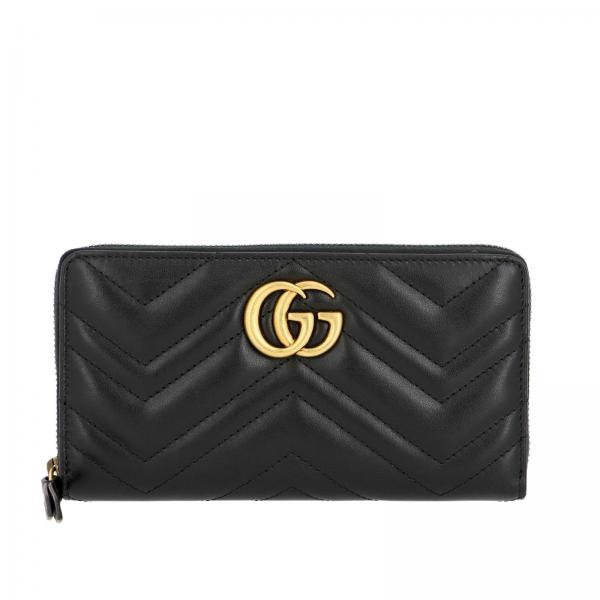 Portafoglio GG Marmont Gucci continentale in pelle trapuntata con motivo chevron