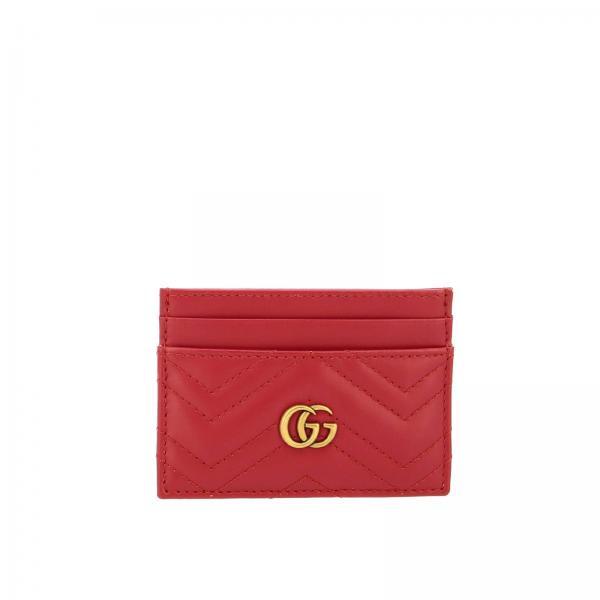 Porta carte di credito Marmont in pelle trapuntata con monogramma GG Gucci