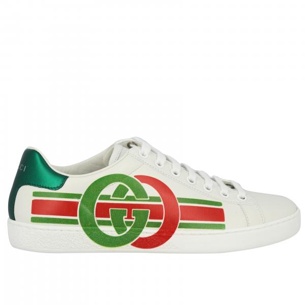 Sneakers New ace Gucci in pelle con stampa GG web