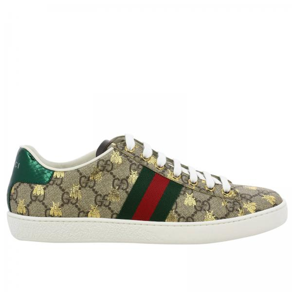 Sneakers new ace en cuir gg supreme gucci avec bandes web et impression ape  all over