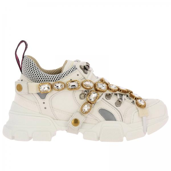 Flashtrek running lace up sneakers in real leather and macro net with  removable rhinestone jewels