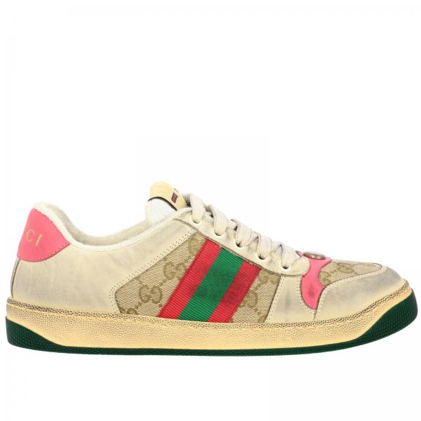 Sneakers Screener Gucci in pelle vintage con fasce Web e canvas con monogramma GG Supreme