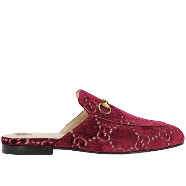 Sandalo Princetown a pantofola in velluto soft GG Gucci con morsetto metallico