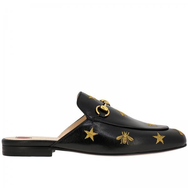 Sandalo Princetown a pantofola in pelle con morsetto metallico e ricami lurex a forma di stelle e api