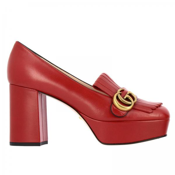 GG Marmont Gucci court shoes in genuine leather with fringes and monogram