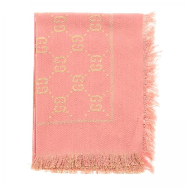 Gucci cotton wool and silk scarf with GG monogram