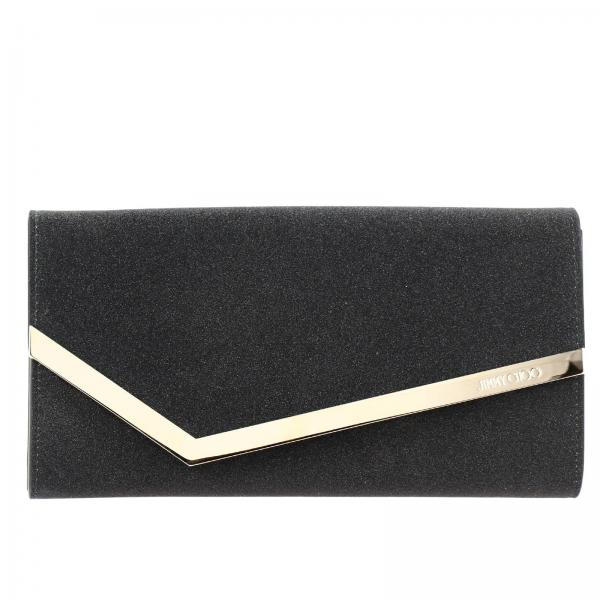 Emmie Jimmy Choo glitter clutch with asymmetrical metallic finish and removable shoulder strap