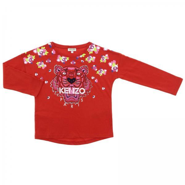 Maglia a maniche lunghe con maxi logo Tiger Kenzo Paris e fiori