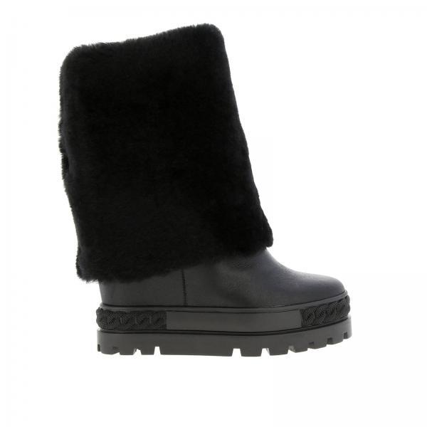 Calgary Casadei Double Face Sneaker Stiefelette aus Leder und Schaffell